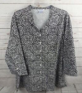 Silhouette Shirt Top Size 1X Black White Floral 3/4 Sleeve