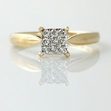 18ct Gold Diamond Square Cluster Engagement Ring Size M Hallmarked