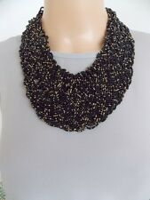 Chunky Black and Gold Beaded Plait Style Statement Necklace -UK SELLER
