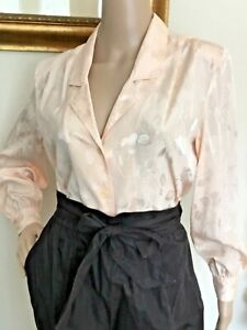 Vintage 1970s Red Short Sleeve Secretary Blouse w Pussy Bow Tie Button Down by Laura Mae Large Size 12-14 Only 8 USD