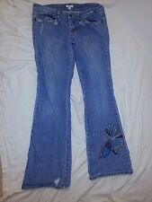 Candie's Distressed Skinny Jeans Butterfly Embroidered Cotton Spandex sz 13 EUC