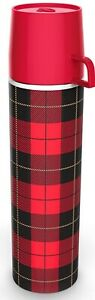 Fred Picnip Travel Thermos Flask with Cup - Red Plaid 280ml.