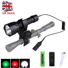 8000Lm White/Red/Green XM-L T6 LED Flashlight Hunting Torch Lamp 18650 Mount Gun