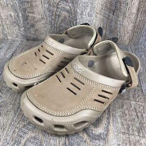 Crocs Bogota Adjustable Clogs Tan Brown Leather Suede Men's Size 7 Mules