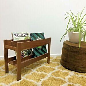 Vintage Retro Style Rectangular Free Standing Solid Wooden Magazine Holder/Rack