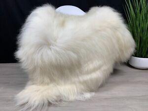 X Large Sheepskin White Cream Rug /  Real Natural Icelandic White Sheepskin Pelt