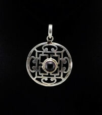 Anhänger TIBET- Mandala Stein natürliche Granat Silber TIBET 34
