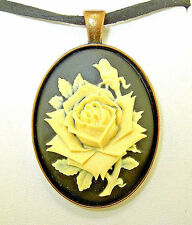 background Copper-tone Cameo Pendant Necklace New ivory-colored Rose on black