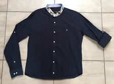Camicia DSQUARED2 Blu Scuro Cotone XL 44-46 Blue Shirt Mandarin Collar
