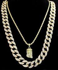 """2pc Set Jesus Piece 24"""" 30"""" Cuban/Rope Chains 14k Gold Plated Hip Hop Necklaces"""