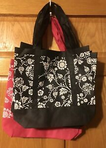 NWT Lot of 8 Floral Reusable Shopping Totes Bags Pink-Black