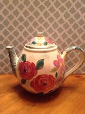 Pink Flower Hand Painted Teapot  Kitchen Home Decor