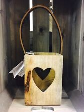 21cm NATURAL WOODEN CANDLE LANTERN WITH 4 CUT OUT LOVE HEART DETAIL