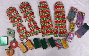 Collection of Vintage Honeycomb Paper Christmas Decorations Garlands 1950s