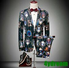 Men 2pcs Dog Printed Foral Suits Blazers Jacket Pants One Button Nightclub Slim