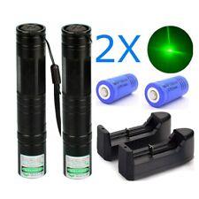 New listing 2Pcs 900 Miles Green Beam Laser Pointer Pen 532nm Handheld Lazer+Charger+Battery