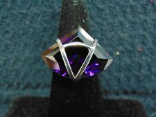 STERLING SILVER PURPLE STONE RING SIZE 8
