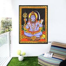 Lord Shiva Indian Wall Hanging Black Cotton Tapestry Poster Size Tapestries