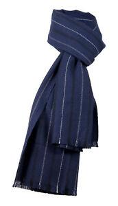 Ermenegildo Zegna Navy Blue Fine Stripe Pure Wool Fringe Scarf