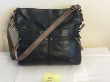 The Sak Black Leather Bucket Convertible Cross body Sanibel Bag Purse Display #5