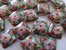 24 Vintage Cloisonne Red Square Pillow Beads—Red, Green & Pink accents—-13mm