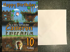 TERRARIA Personalised Birthday Card A5 Kids Son Daughter Mine Custom Party Craft