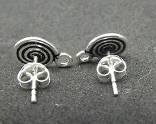 Solid STERLING SILVER ROUND SPIRAL STUD FINDINGS Antiqued Jewelry Making