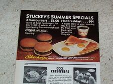 1977 advertising - Stuckey's Stores highway road food Coca-Cola hamburger OLD AD