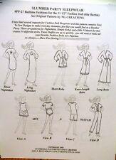 Ng Creations Sewing Pattern #Pp27 Slumber Party Sleepwear fits Barbie Doll