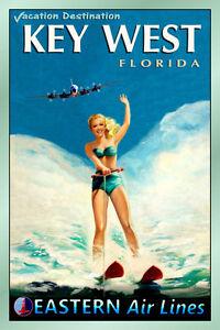 KEY WEST Florida EASTERN Air Lines Beach Travel Poster Pin Up Art Print 052