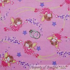 BonEful Fabric Flannel Cotton Quilt Pink Tooth Fairy Princess Ballet Girl SCRAP