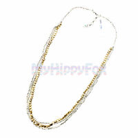 NWT Lucky Brand Antiqued Gold & Silver Tone Triple Layer Bead Necklace JLRU8516