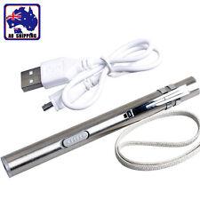 Flashlight Stainless Steel LED Torch Light Mini Pen USB Rechargeable TFLI45701