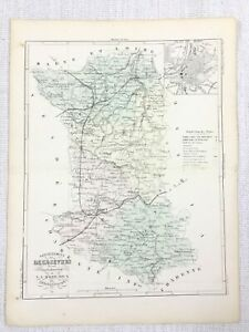 1881 Antique French Map Deux-Sevres Niort France Rare Hand Coloured Engraving