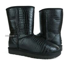 UGG Australia Classic Short Croco Black Fur Boots Womens Size 6 *NIB*