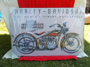 HARLEY DAVIDSON MOTORCYCLE PICTURE / POSTER ON WOODEN FRAME 91 X 61 X 2 cm NEW