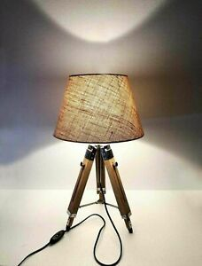 Nautical Vintage Wooden Table /Desk Lamp Tripod Stand With jute Shade Home Decor