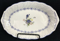 "Nikko Blue Peony Gravy Under Plate Relish Tray Butter Dish Oval 9"" By 6"" Japan"