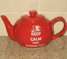 Keep Calm and Drink Tea Teapot The Old Pottery Company Red One Serving Pot