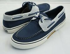 Sperry Top-Sider Halyard 2-eye Sneakers Shoes Men's Size 9 Navy Blue Striped
