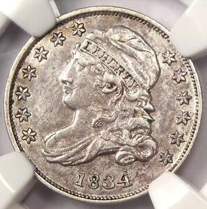 1834 Capped Bust Dime 10C JR-5 - NGC AU Details - Rare Early Date Certified Coin