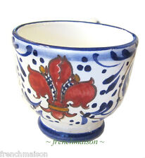 Italian FLORENCE Handmade Painted Ceramic FLEUR DE LIS EXPRESSO COFFEE CUP New