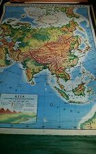 1956 (?) Rand McNally Pull Down  School Wall Map ASIA M400 China