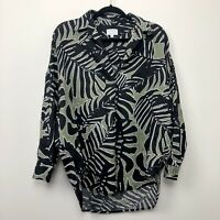 Witchery Linen Shirt Top Graphic Black Oversize Long Sleeve Size 8 fit 10 - 12