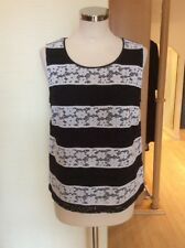 Riani Top Size 10 BNWT Black Cream Lace Stripes RRP £125 Now £56