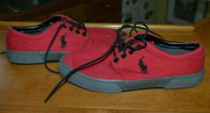 Polo Ralph Lauren Faxon Low Fashion Sneakers Men's Lace Up Red Gum Shoes 8D Gray