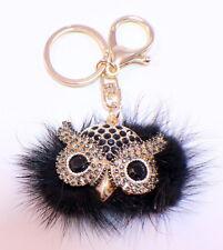Rhinestone Bling Key Chain Fob Purse Phone Charm Wise Ole' Hoot Owl