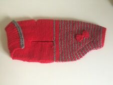 Beautiful Hand Knitted Red & Grey Stripe Dog Coat, New, For Small Dog