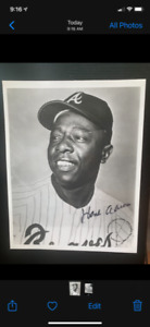 1982 Hank Aaron 8x10 Autograph Photo from the First Rothstein White Plains Show