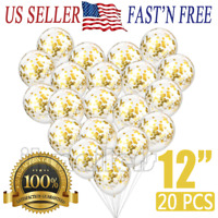 "20pcs Gold Confetti Balloons Latex Rose Gold Wedding Birthday Party Decor 12"" US"